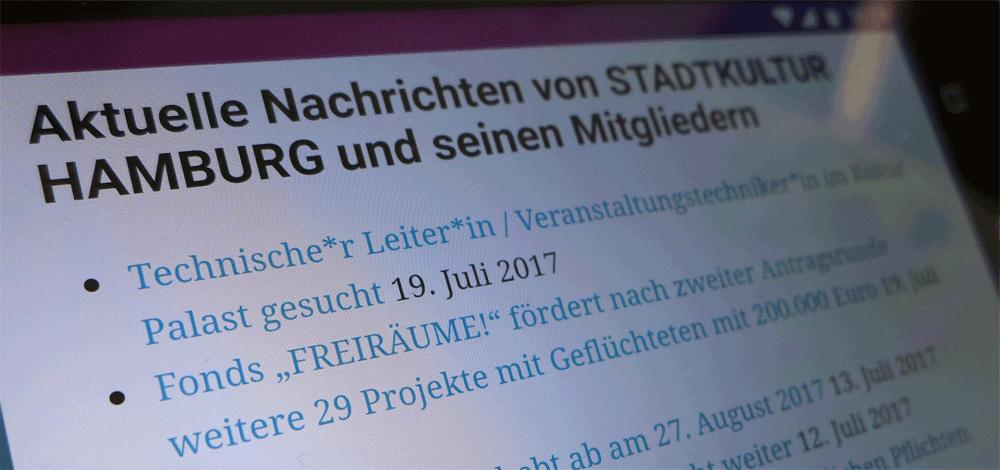 Die STADTKULTUR News für Mitglieder von STADTKULTUR HAMBURG