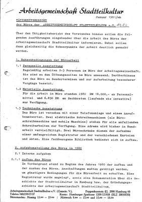 Tätigkeitsbericht für 1980