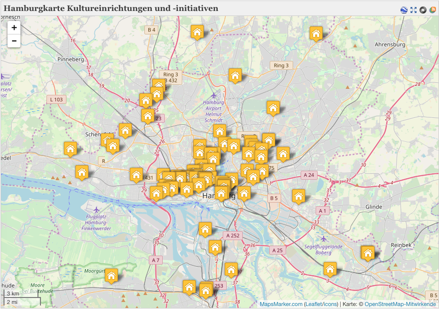 Hamburgkarte mit Angeboten von und für Geflüchtete auf willkommenskultur.hamburg.de
